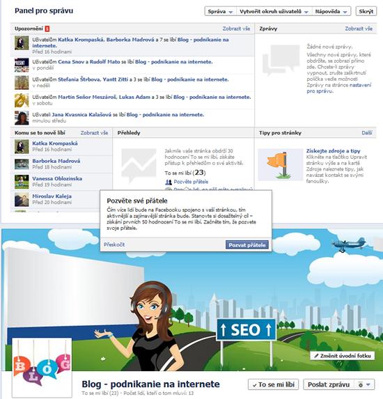 facebook timeline, panel pro administrátory
