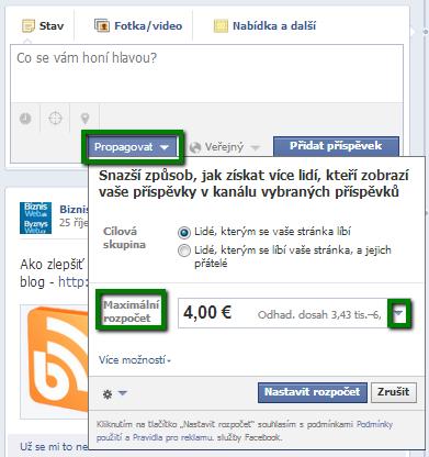 propagace příspěvků na facebooku