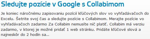 Sledujte pozície v Google s Collabimom