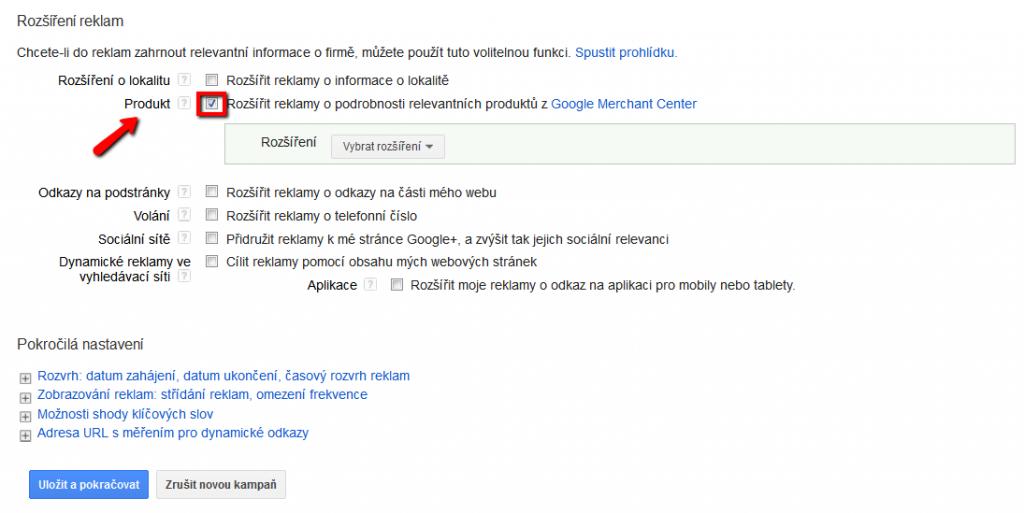 Rozšírené reklamy o produkt v Google AdWords