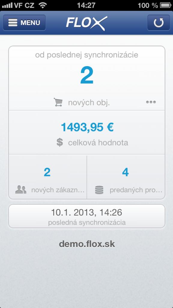 úvodný prehľad objednávok, nových zákazníkov vo Flox app