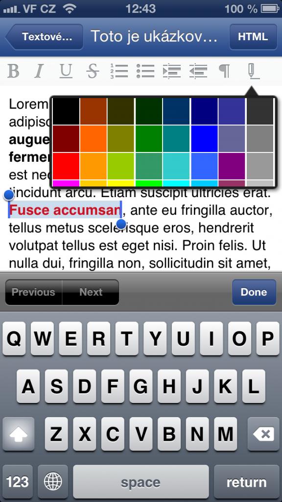 úprava textu ve Flox app