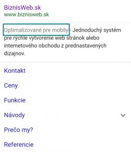 biznisweb - web stránky a eshopy optimalizované pre mobily