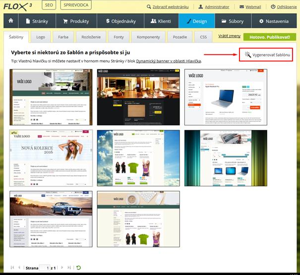 umelá inteligencia v BiznisWeb.sk - automatické generovanie grafických šablón webu