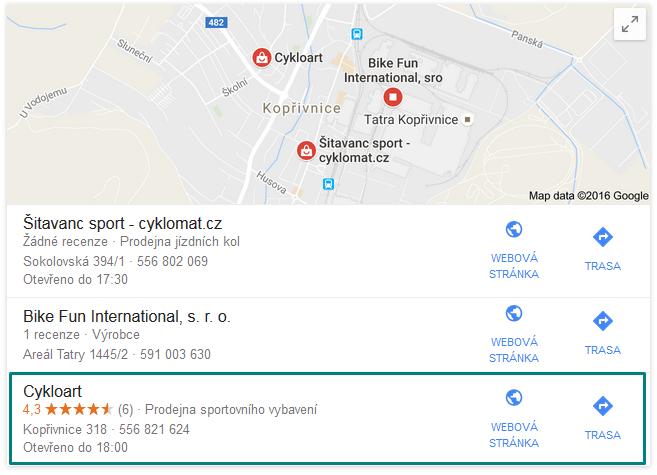 eshop.CykloArt.cz - síla local SEO