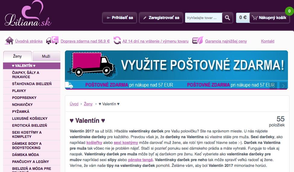 valentínska sekcia na e-shope, valentínska ponuka na e-shope