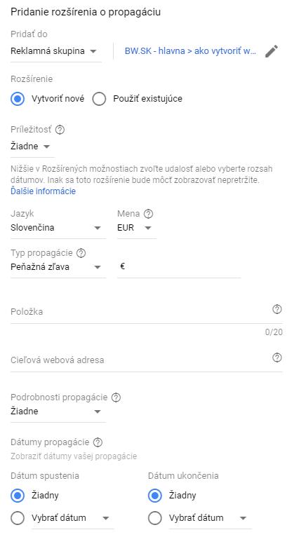 nastavení rozšíření o propagaci v Google AdWords