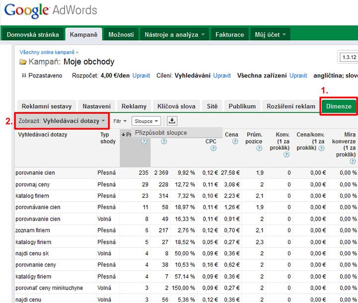 vyhľadávacie dopyty google adwords