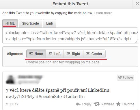vložené tweety, vložený tweet, embedded tweet