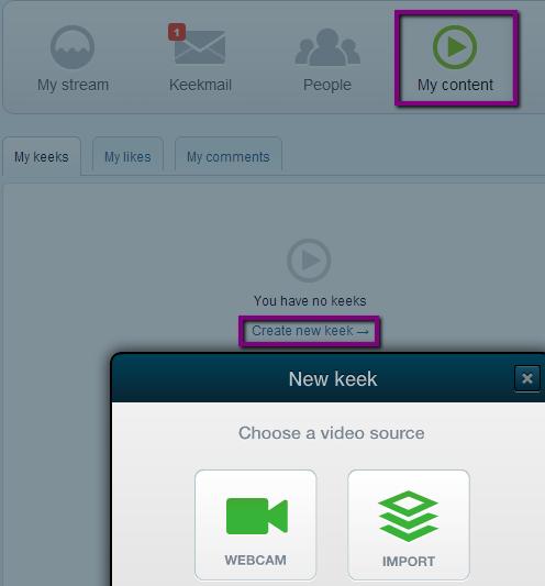 pridanie videa na keek, ako nahrať video na keek
