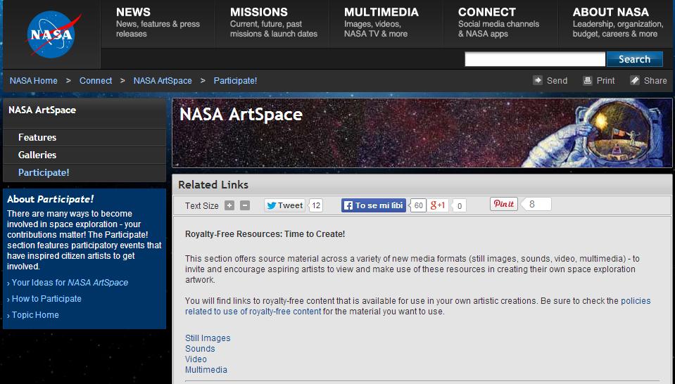 nasa artspace - zvuky, videá a obrázky z vesmíru