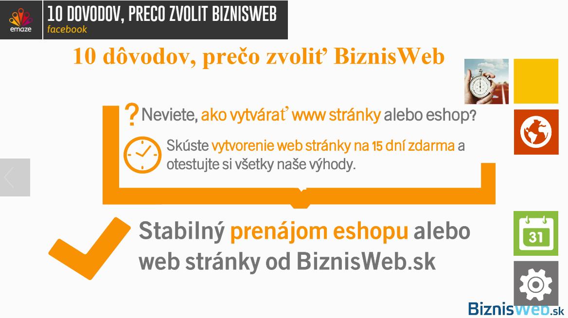 výhody prevádzkovania web stránky u BiznisWeb.sk