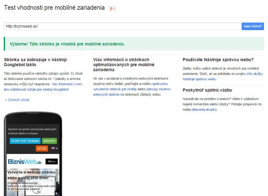 mobilná responzívna verzia web stránky