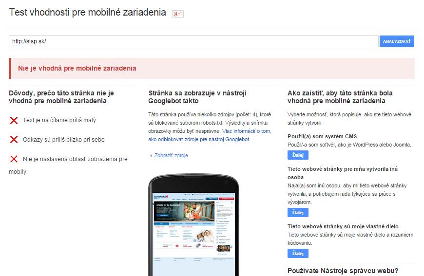 slovenska sporitelna -  nevhodna mobilna sablona