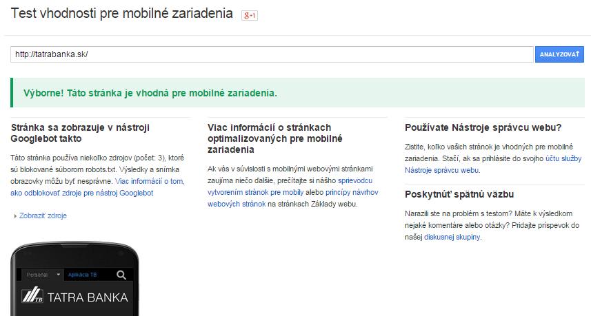 vhodná mobilná verzia web stránky