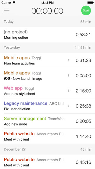 aplikácia toggl