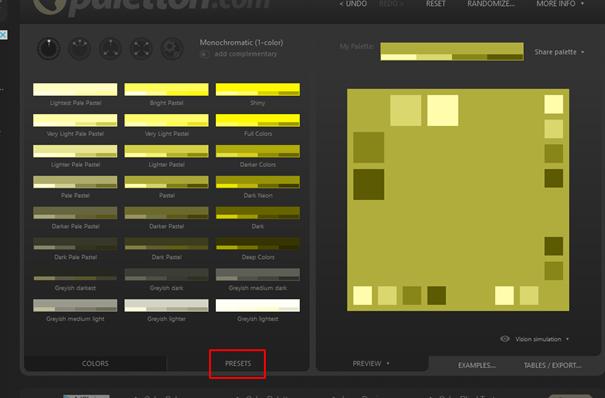 predpripravené možnosti kombinácií farieb v paletton.com