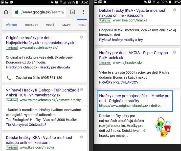 výsledky mobilného vyhľadávania