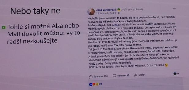 reakcia nespokojného zákazníka na Facebooku