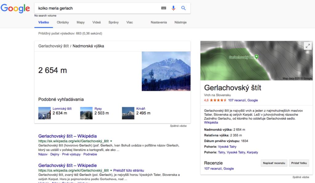 príklad Google Answer Box – odpoveď na otázku, koľko meria Gerlachovský štít