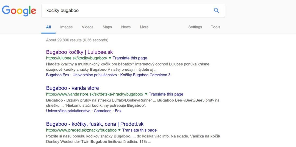 výsledky vyhľadávania Google, SERP