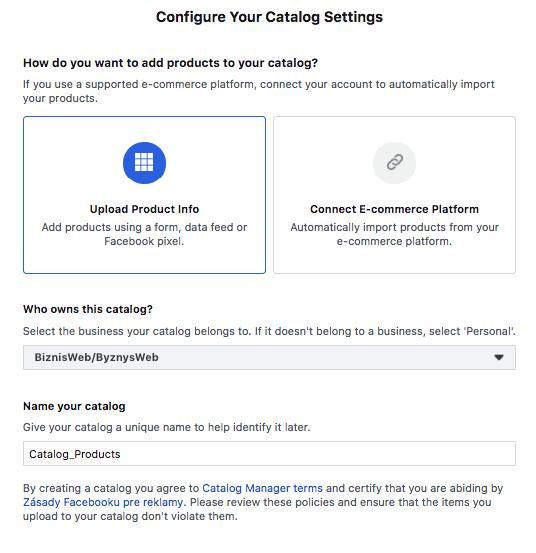 upload produktů do FB obchodu přes Google XML feed