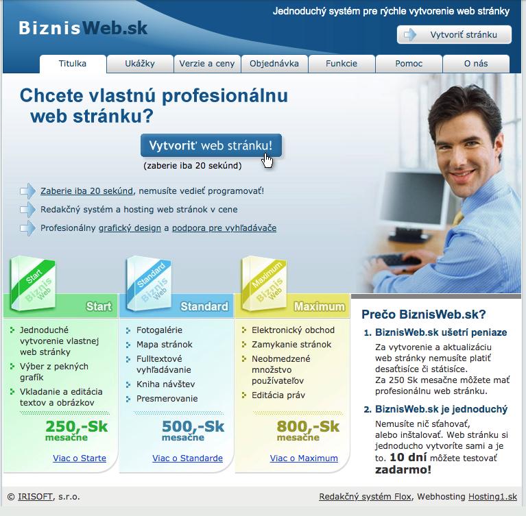 dizajn BiznisWeb.sk z roku 2006