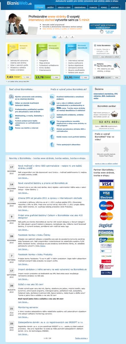 BiznisWeb webdizajn z roku 2008